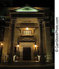 maison, pierre, impressionnant, colonnes, nuit