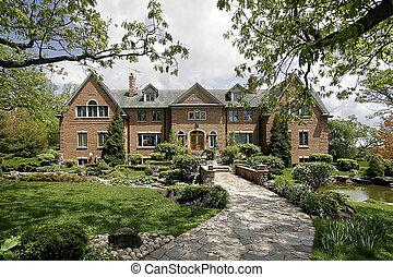 maison, pierre, luxe, walkway