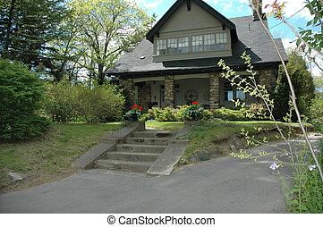 maison, pierre, porche