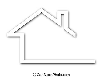 maison, pignon, -, toit, logo