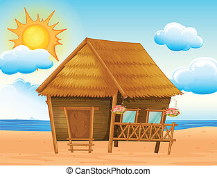maison, plage