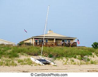 maison plage, dans, été