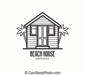 maison, plage, logotype
