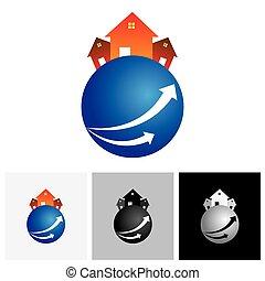 ), maison, planète, vecteur, (, maison, logo, résidence, ou, icône