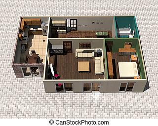 maison, plan, 3d