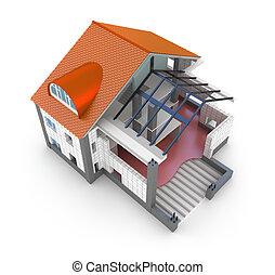 maison, plan, architecture, isolé