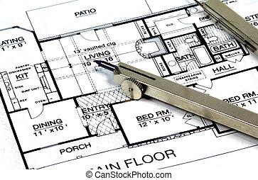 maison, plans, compas