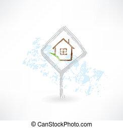 maison, plaque, grunge, icône