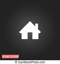 maison, plat, icône