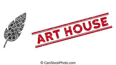 maison, plume, gratté, mosaïque, art, timbre, cachet, lignes
