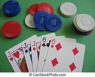 maison, poker, entiers, jeu, main
