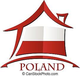 maison, pologne, fait, drapeau, icône