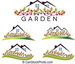 maison, pomme, jardin