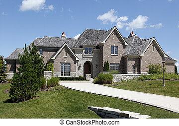 maison, porte, brique, arqué, luxe