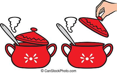 maison, pot, cuisine