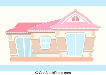 maison, poupée, mignon, pastel