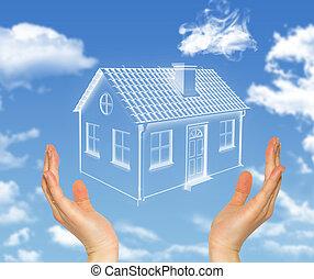maison, prise, ciel, nuages, mains