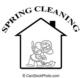 maison, propre, printemps