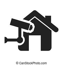 maison, propriété, assurance, isolé, icône