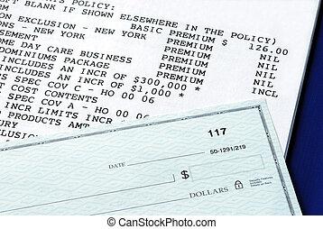 maison, propriété, police d'assurance, et, chèque personnel