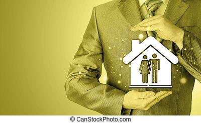 maison, protéger, homme affaires, famille, mains