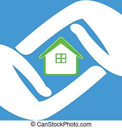 maison, protéger, mains, logo