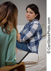 maison, psychothérapie, séance