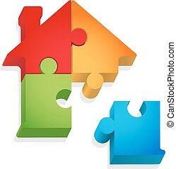maison, puzzle, -