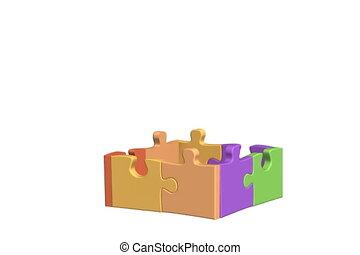 maison, puzzle, 3d