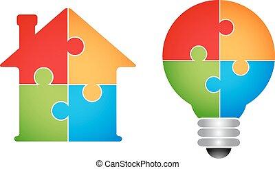 maison, puzzle, -, ampoule, lumière