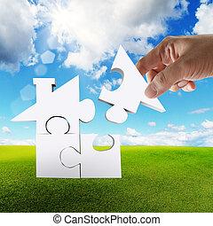 maison, puzzle, concept, complet, main