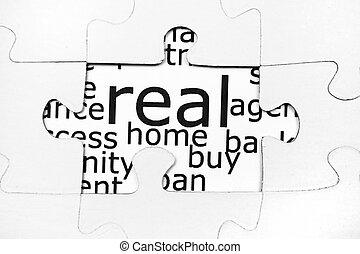 maison, puzzle, concept
