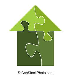 maison, puzzle, dehors, construit, morceaux