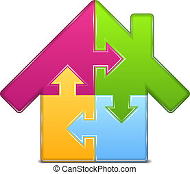 maison, puzzle, icône