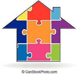 maison, puzzle, logo