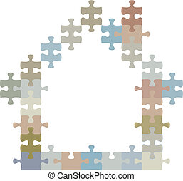 maison, puzzle, morceaux denteux, forme, maison