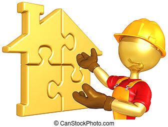 maison, puzzle, ouvrier, or