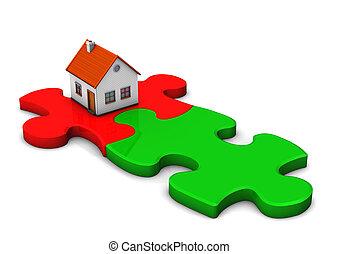 maison, puzzle, rouge vert, morceaux
