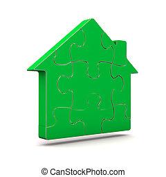maison, puzzle, vert