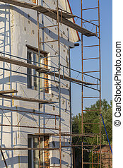 maison, rénovation, renovation., bâtiment, ouvriers, ...