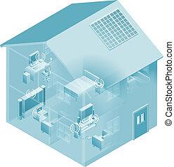 maison, réseau, local, secteur, maison