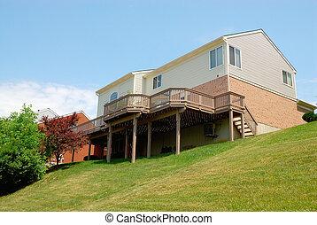maison, résidentiel, brique, 2-story