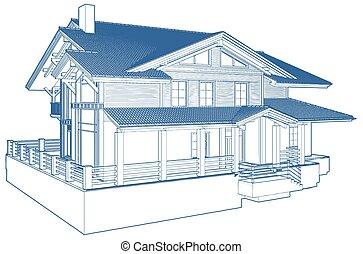 maison, résidentiel, famille, buil...