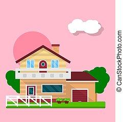 maison, résidentiel, mignon