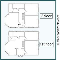 maison, résumé, plan, étage, deux