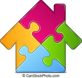 maison, résumé, puzzle, icône