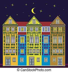 maison, rêve, nuit