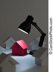 maison, rêve, projecteur