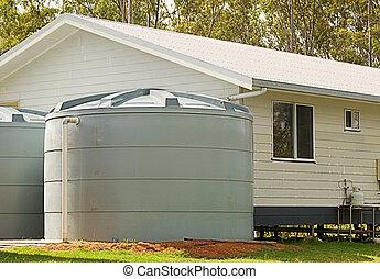 maison, rainwater, conservation, réservoirs, nouveau