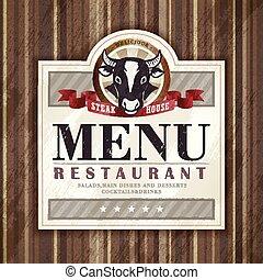maison, restaurant, bifteck, conception, menu